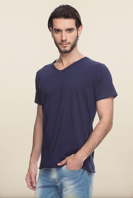 Spykar Navy Solid T shirt