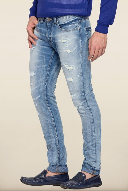 Spykar Light Blue Distressed Skinny Fit Jeans
