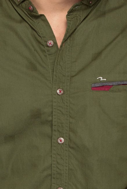 Spykar Olive Solid Cotton Shirt
