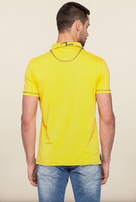 Spykar Yellow Solid Polo T shirt