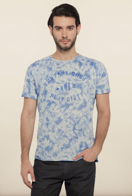 Spykar White & Blue Printed T shirt
