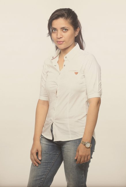 Spykar White Solid Casual Shirt