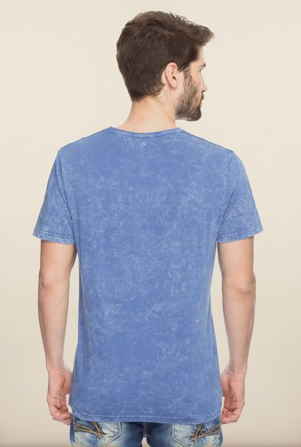 Spykar Blue Solid Slim Fit T shirt