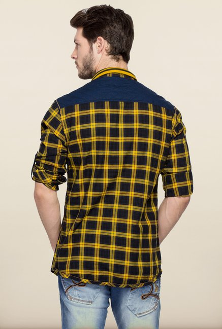 Spykar Yellow & Black Checks Casual Shirt