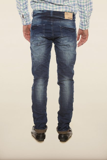 Spykar Blue Distressed Skinny Fit Denim Jeans