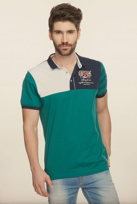 Spykar Green Slim Fit Polo T shirt