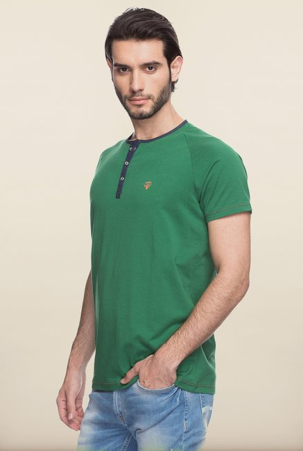 Spykar Green Solid T shirt