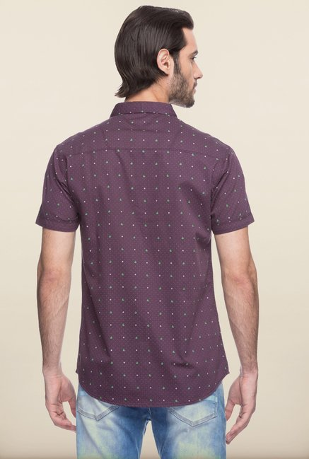 Spykar Purple Printed Cotton Shirt