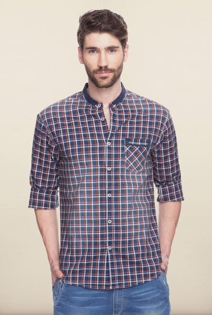 Spykar Blue & Orange Checks Casual Shirt