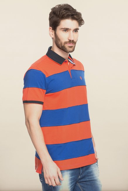Spykar Orange & Blue Polo T shirt