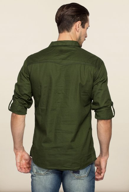 Spykar Green Solid Casual Shirt