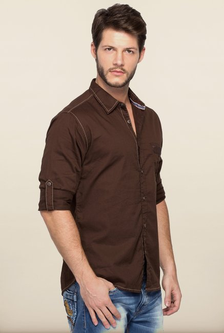 Spykar Brown Regular Fit Casual Shirt