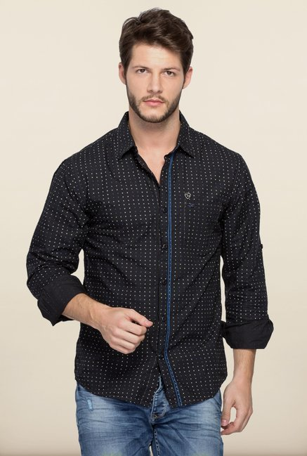Spykar Black Printed Cotton Shirt