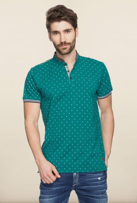 Spykar Green Cotton Printed T shirt