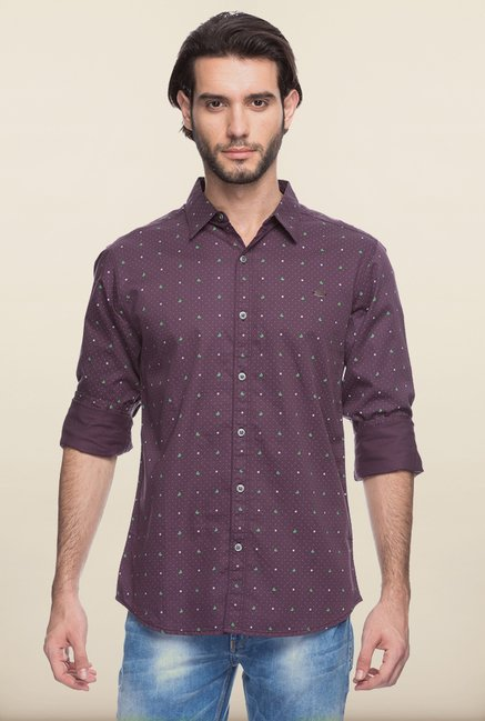 Spykar Purple Printed Casual Shirt
