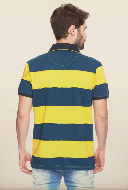 Spykar Yellow & Blue  Striped Polo T shirt