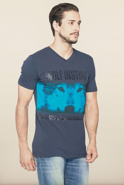 Spykar Navy Slim Fit Printed T shirt