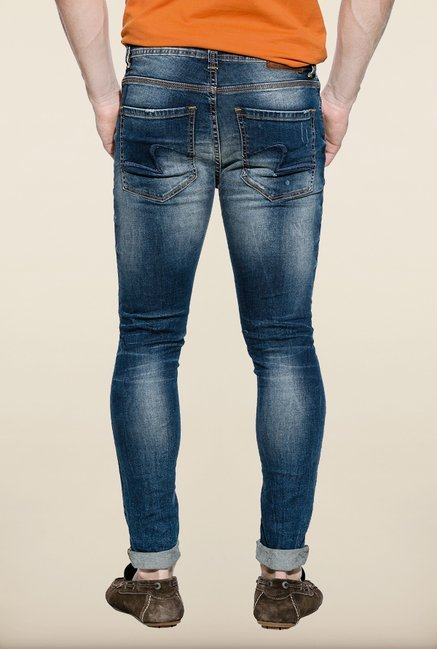 Spykar Blue Distressed Low Rise Denim Jeans