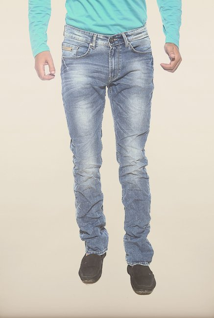 Spykar Blue Washed Low Rise Slim Fit Denim Jeans