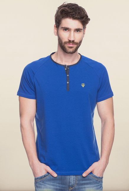 Spykar Blue Solid Cotton T shirt