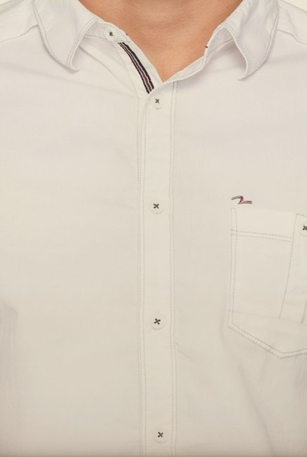 Spykar White Solid Shirt