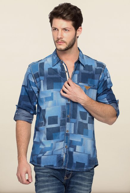 Spykar Blue Printed Cotton Shirt
