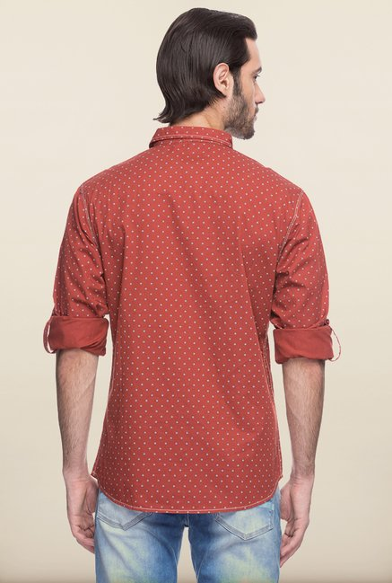 Spykar Rust Printed Casual Shirt
