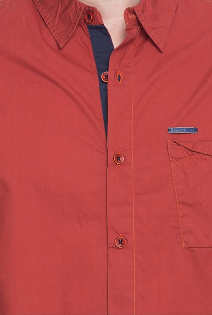 Spykar Red Solid Regular Fit Shirt