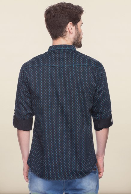 Spykar Black Printed Casual Shirt