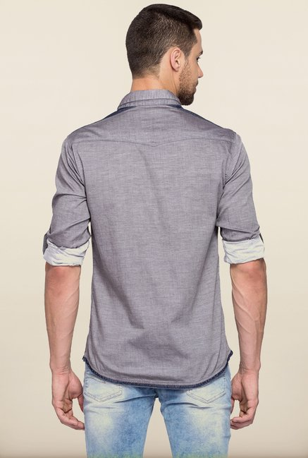Spykar Light Grey Solid Casual Shirt