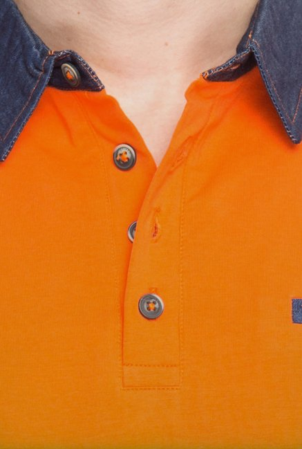 Spykar Orange Polo T shirt