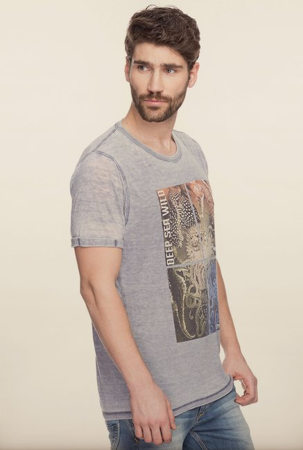 Spykar Grey Graphic Printed T shirt