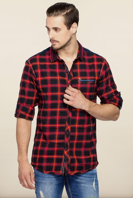 Spykar Red & Black Checks Casual Shirt
