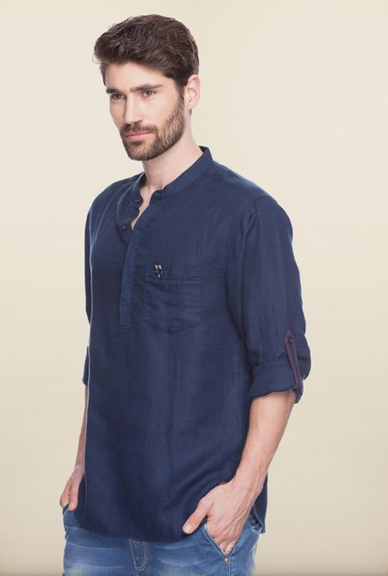 Spykar Navy Mandarin Collar Casual Shirt