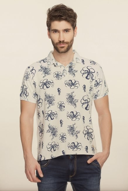 Spykar Beige Printed Cotton T shirt