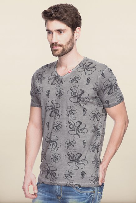 Spykar Grey Printed Cotton T shirt