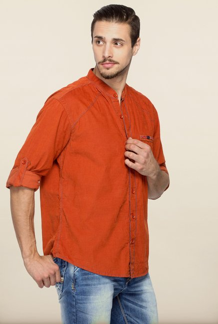 Spykar Rust Solid Casual Shirt