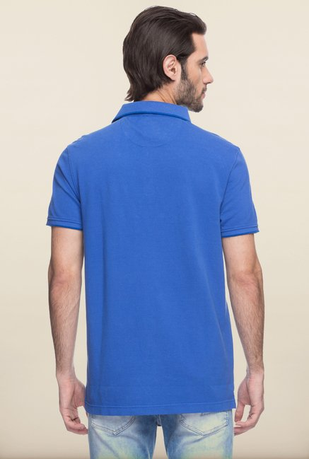 Spykar Royal Blue Solid Polo T shirt