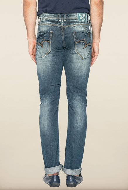 Spykar Blue Washed Distressed Jeans