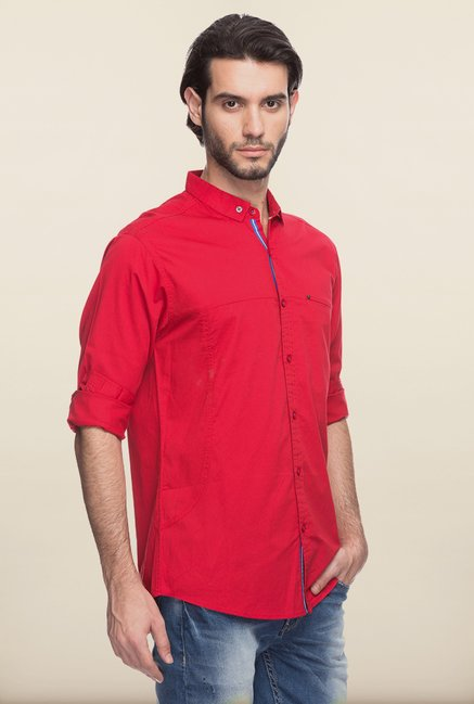 Spykar Red Solid Cotton Shirt