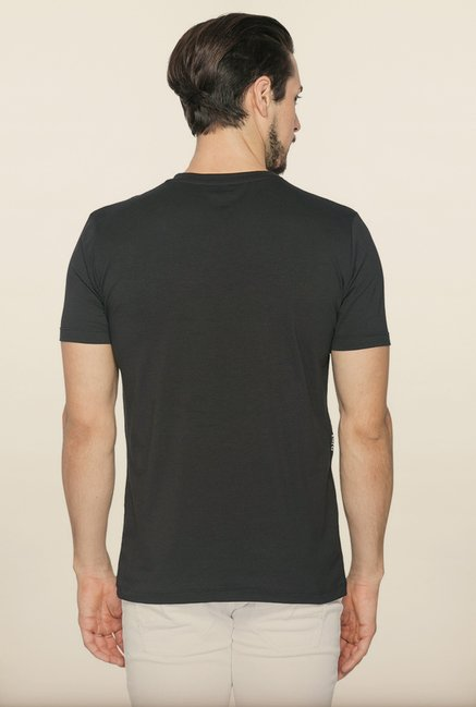 Spykar Black Slim Fit Cotton T shirt