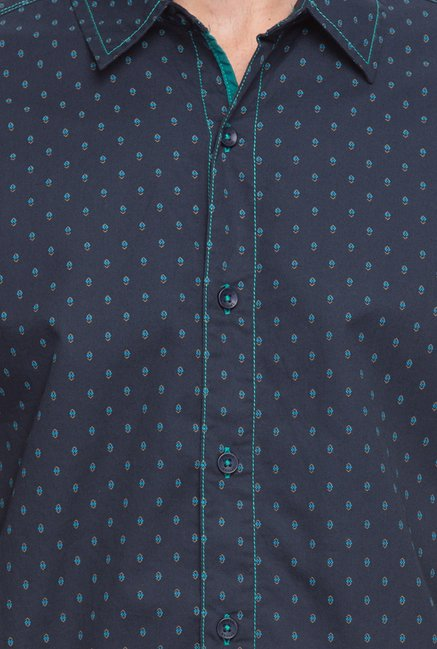 Spykar Navy Printed Casual Shirt