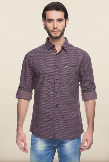 Spykar Brown Printed Casual Shirt