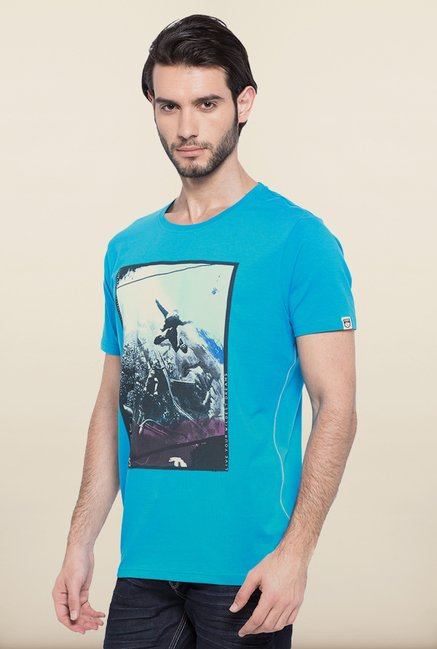 Spykar Turquoise Graphic Printed T shirt