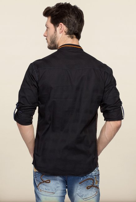 Spykar Black Mandarin Collar Shirt
