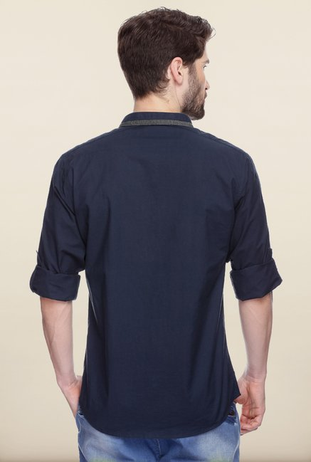 Spykar Navy Mandarin Collar Shirt