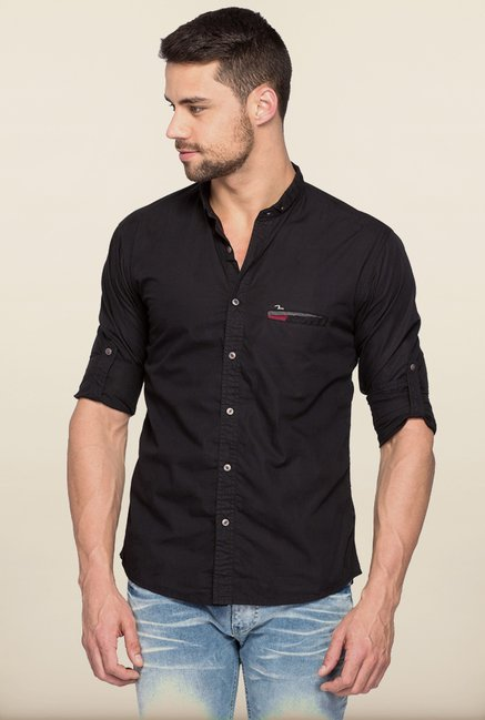Spykar Black Solid Regular Fit Casual Shirt