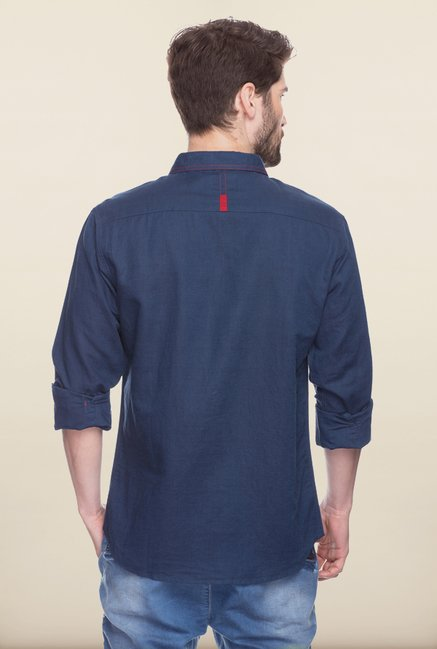 Spykar Navy Solid Cotton Shirt