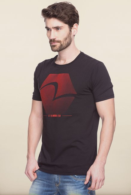 Spykar Black Printed T shirt