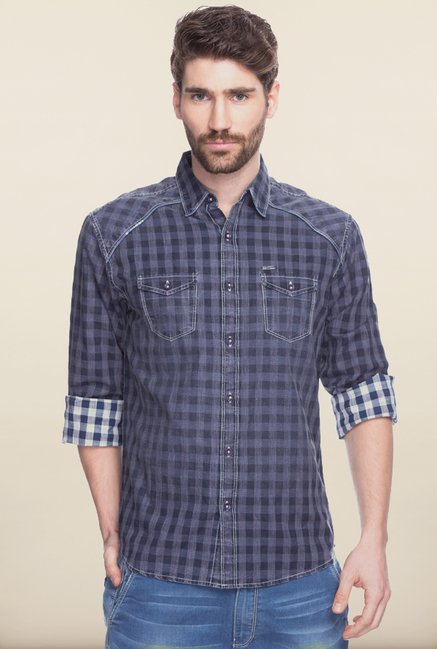 Spykar Dark Grey Checks Cotton Shirt